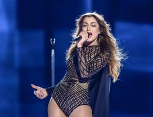 Armenia's Iveta Mukuchyan performs the song 'LoveWave'