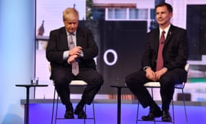 Boris Johnson and Jeremy Hunt participate in a televised Conservative leadership debate for the BBC.
