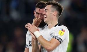Joe Ledley shares a joke with Derby's other goalscorer against Ipswich, Tom Lawrence.