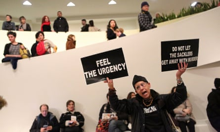 A protest against the Sackler family, which owns Purdue Pharma, at the Guggenheim Museum in New York. The report said: 'While the findings are tragic and alarming, they are unsurprising given this company's unscrupulous history.'