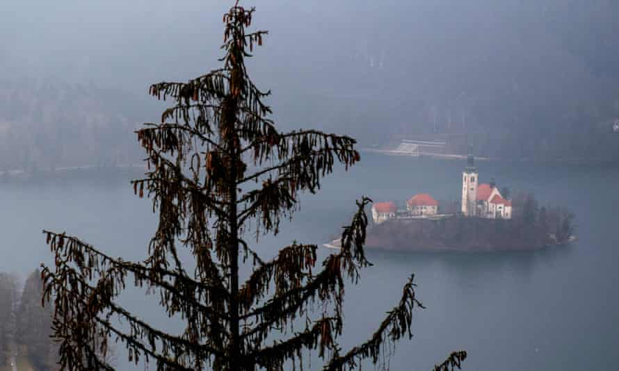 Lake Bled is seen from the Straza hills in Slovenia.