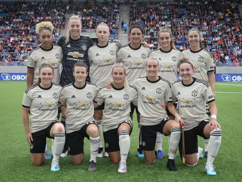Manchester United line up for the pre-season friendly against Valerenga in Oslo with new signings Hayley Ladd and Jane Ross