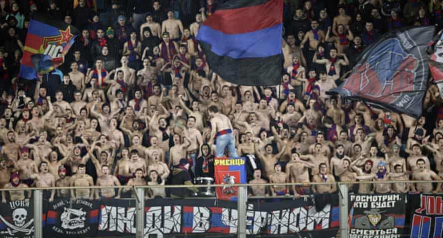 They're hardy souls those CSKA Moscow fans, as they refuse to let the freezing temperatures put them off cheering for their team as they take on Manchester United in the Russian capital.