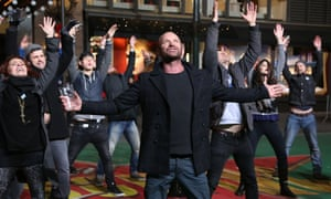 Sting and the cast of his musical The Last Ship perform during Macy's Thanksgiving Day Parade