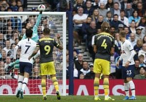 Tottenham Hotspur's Hugo Lloris saves a free kick from Southampton's James Ward-Prowse.