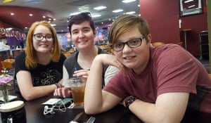 Gavin Walker (far right) is the first openly transgender student at Kingaroy high school. Pictured with (from left) his sister Xanthe and his brother, Matt, who is also transgender.
