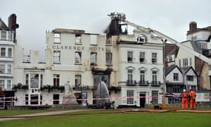 The Royal Clarence Hotel after the blaze