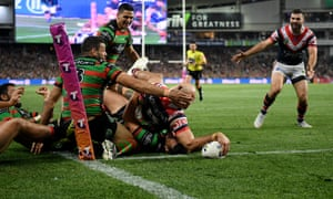 Blake Ferguson of the Roosters scores a try against South Sydney Rabbitohs at Allianz Stadium in Sydney.