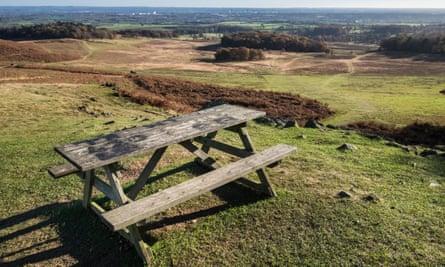 Picnic table on hilltop at Bradgate Park
