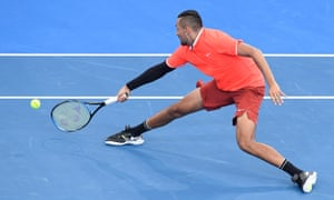 Nick Kyrgios plays a forehand during his match against Ryan Harrison of USA at Brisbane International