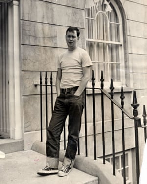 Joe Orton in 1967, outside the flat he shared with Kenneth Halliwell in Islington, London.