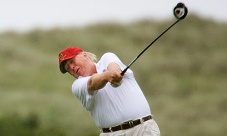 Donald Trump on his Scottish golf course.