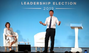 Jeremy Hunt speaking at Bournemouth Pavilion Theatre during tonight's Tory leadership hustings.
