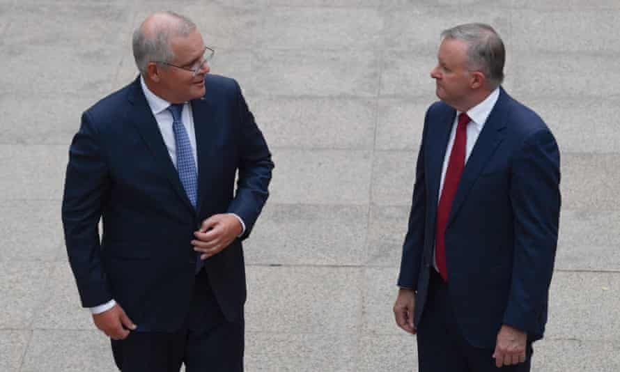Prime Minister Scott Morrison and leader of the Opposition Anthony Albanese at the Last Post Ceremony at the Australian War Memorial in Canberra, February 1, 2021.