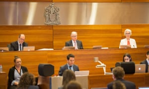 Justice Peter McClellan, centre, at a royal commission into institutional responses to child sexual abuse's public hearing.