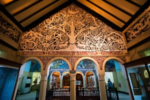 Kenyah Dayak mural in the Sarawak Museum. Kuching, Sarawak, Borneo, Malaysia