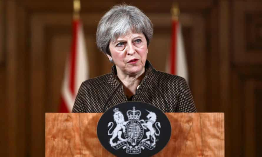 Theresa May holding a press conference at 10 Downing Street on Saturday after the RAF launched air stikes on a military facility in Syria, as part of a coordinated joint action with the US and France
