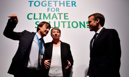 The French president, Emmanuel Macron, right, and France's minister for the ecological and Inclusive transition, Nicolas Hulot, talk with the outgoing German environment minister Barbara Hendricks during the UN conference on climate change in Bonn