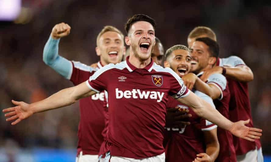 Declan Rice leads the celebrations during the Hammers' victory against Leicester last month
