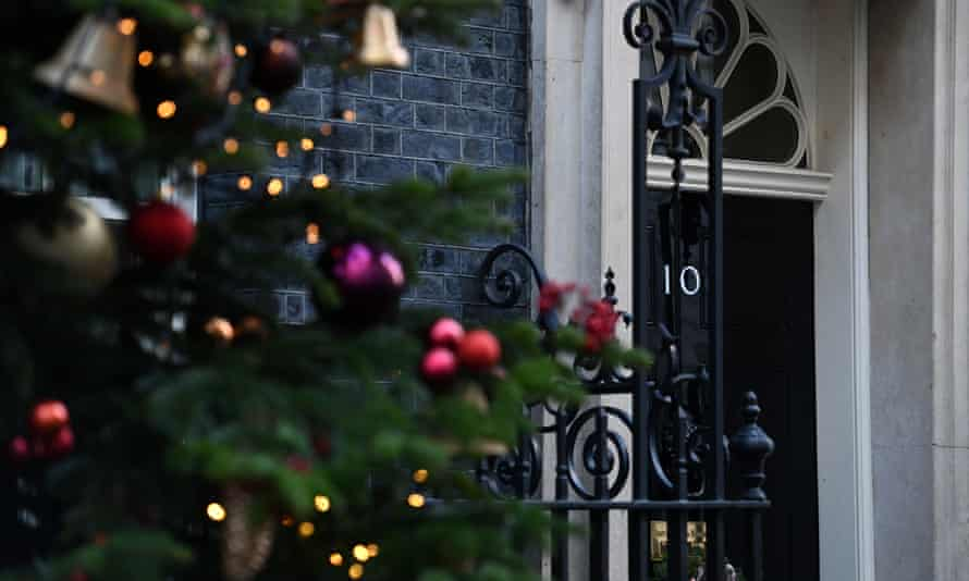 A Christmas tree in front of 10 Downing Street