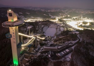 the pyeongchang winter olympics site by night