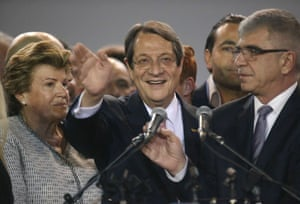 Nicos Anastasiades after being re-elected as president