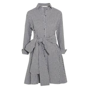 Black and white tie-front cotton mini dress