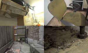 foursquare composite of appalling living conditions