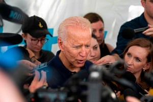 Biden talks to reporters at the Iowa state fair.
