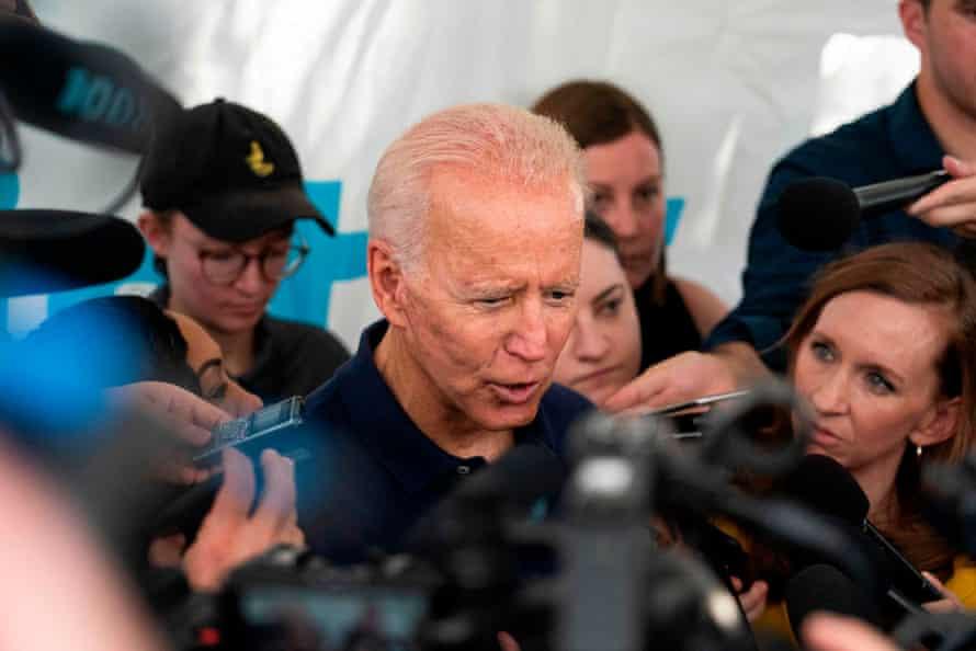 Biden talks to reporters at the Iowa state fair.