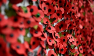 Poppies fixed to a wall at White Hart Lane before a football match between Tottenham Hotspur and Leicester.