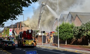 Firefighters at the scene of the blaze in Walthamstow