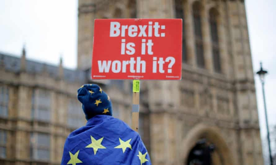 An anti-Brexit demonstrator outside the Houses of Parliament.