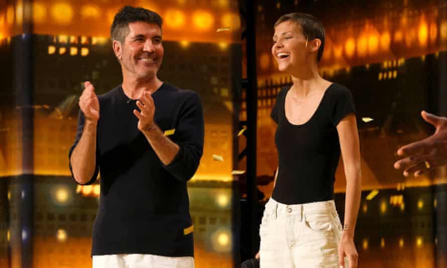 Simon Cowell, left, with the singer Nightbirde on America's Got Talent 2021.