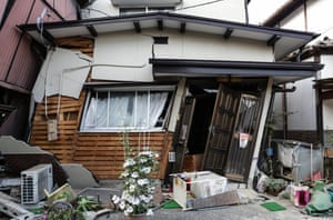 A collapsed house in Kumamoto