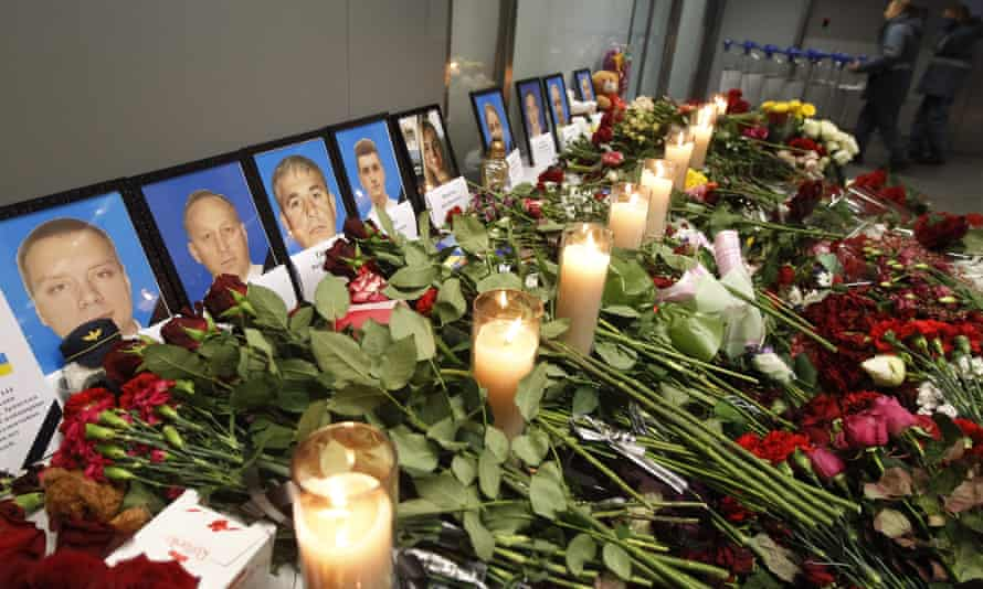 Flowers and candles for the passengers and crew of the Ukraine International Airlines Boeing 737-800 plane shot down in Iran