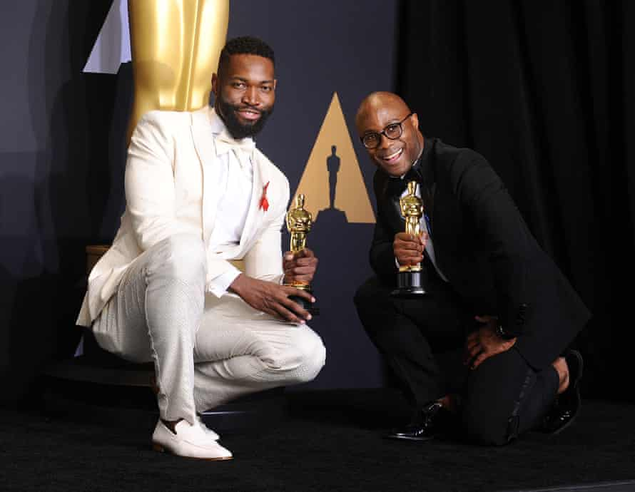 Jenkins with Moonlight co-writer Tarell Alvin McCraney at the 2017 Oscars