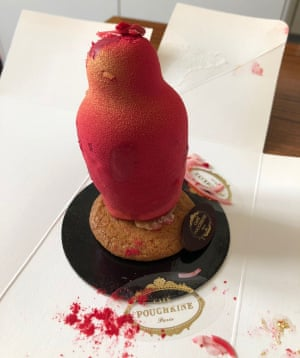 Essentially a patisserie matryoshka doll filled with cream and cherry goo from Cafe Pouchkine in Paris.