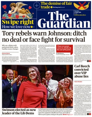 Guardian front page, Tuesday 23 July 2019