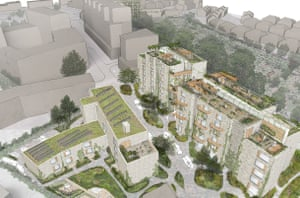 Bowmans Close, looking north. A render of early plans on Pathways' website.