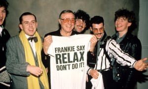 Frankie Goes To Hollywood with Gene Kelly (holding Frankie Say Relax t-shirt), 1984
