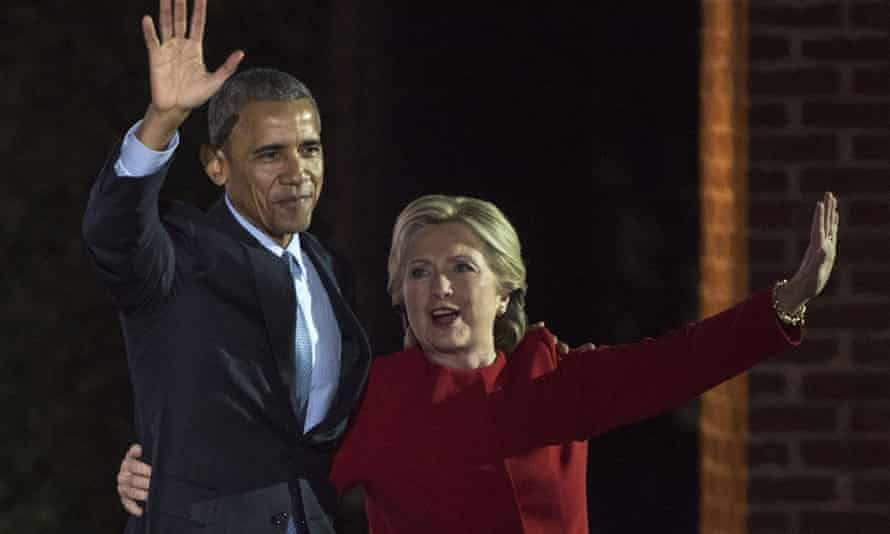 Hillary Clinton And President Obama embrace during the rally in Philadelphia