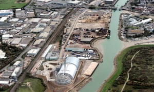 Aerial view of Newhaven incinerator, East Sussex, England