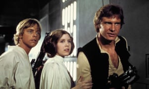 'I am eternally in Star Wars' … Fisher with Mark Hamill, left, and Harrison Ford in Episode IV.