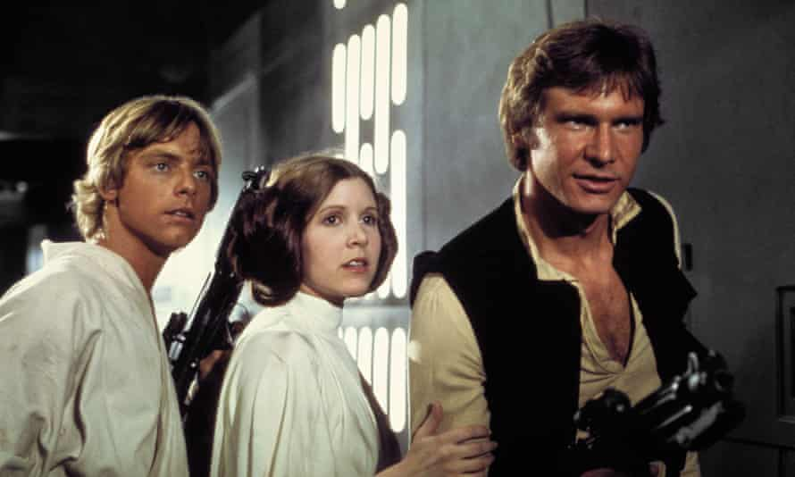 Mark Hamill, Carrie Fisher and Harrison Ford in the original 1977 Star Wars: Episode IV – A New Hope film.