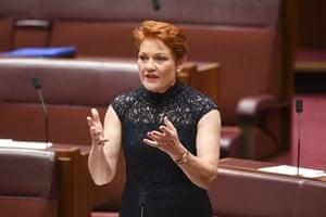 One Nation Leader Pauline Hanson speaks during debate on the medical evacuation bill in the Senate.
