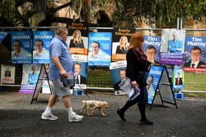 Placards seen at a pre-poll voting centre in Paddington on Saturday.