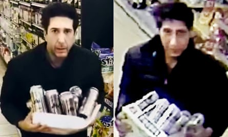 David Schwimmer, left, posted a joking video after the appeal by police for the suspect in Blackpool.
