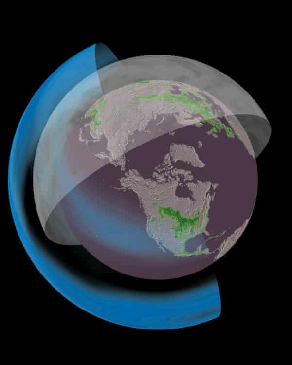 Solar geoengineering aims to cool the Earth by injecting reflective particles, shown in blue, into the high atmosphere.