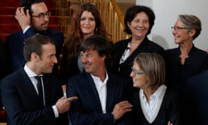 Tech guru ... Mahjoubi (back left) with Macron (front left) and other members of the new government.